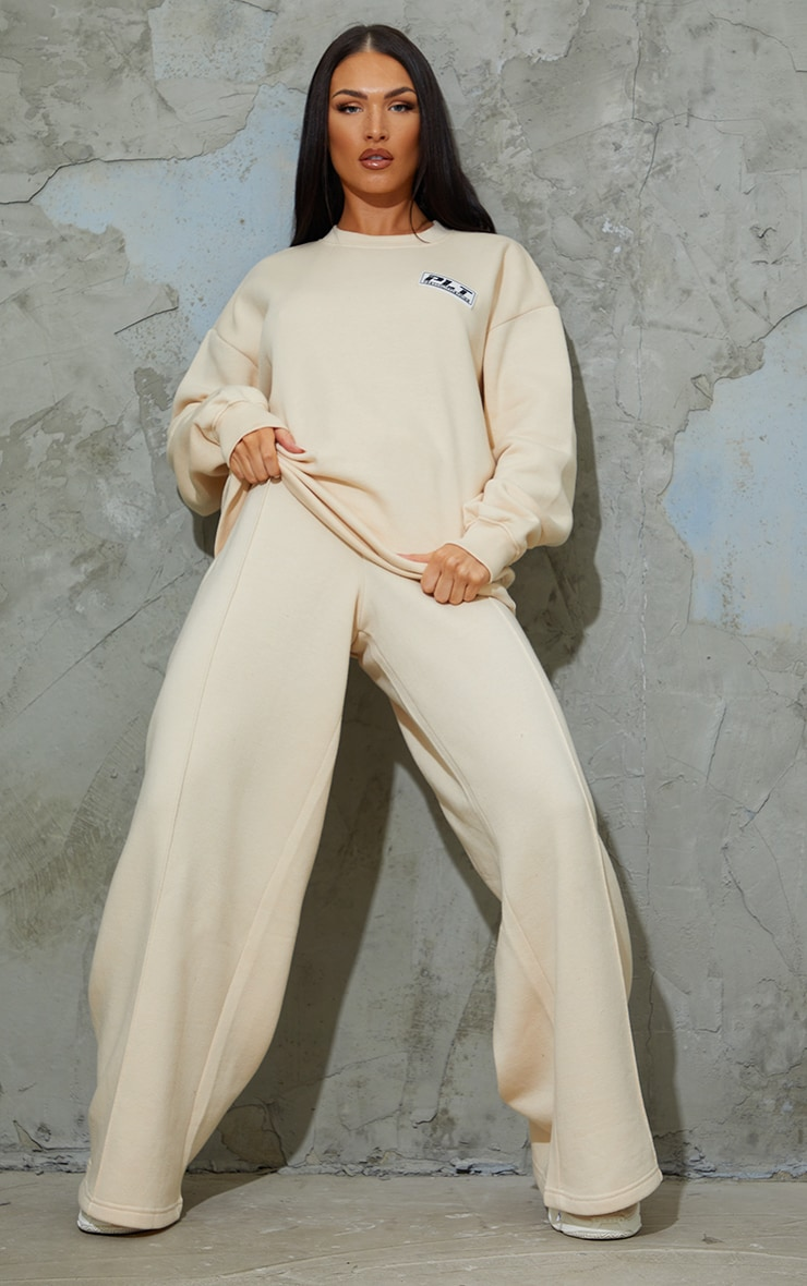 PRETTYLITTLETHING Stone Badge Detail Seam Front Extreme Wide Leg Joggers image 1