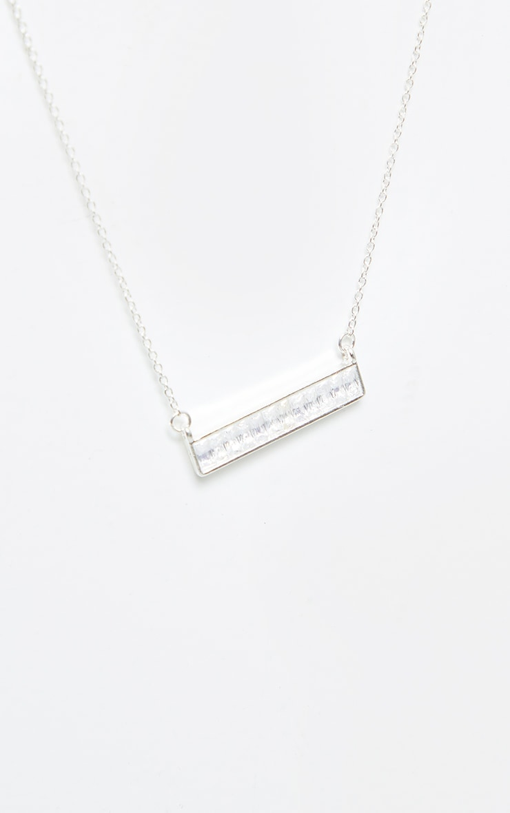 Silver Diamante Bar Charm Necklace 3