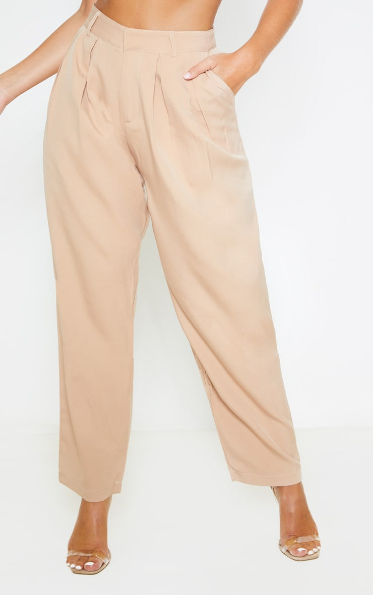 Camel Woven High Waisted Cigarette Pants  2