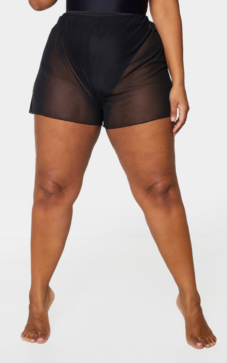 Plus Black Mesh Beach Shorts 2
