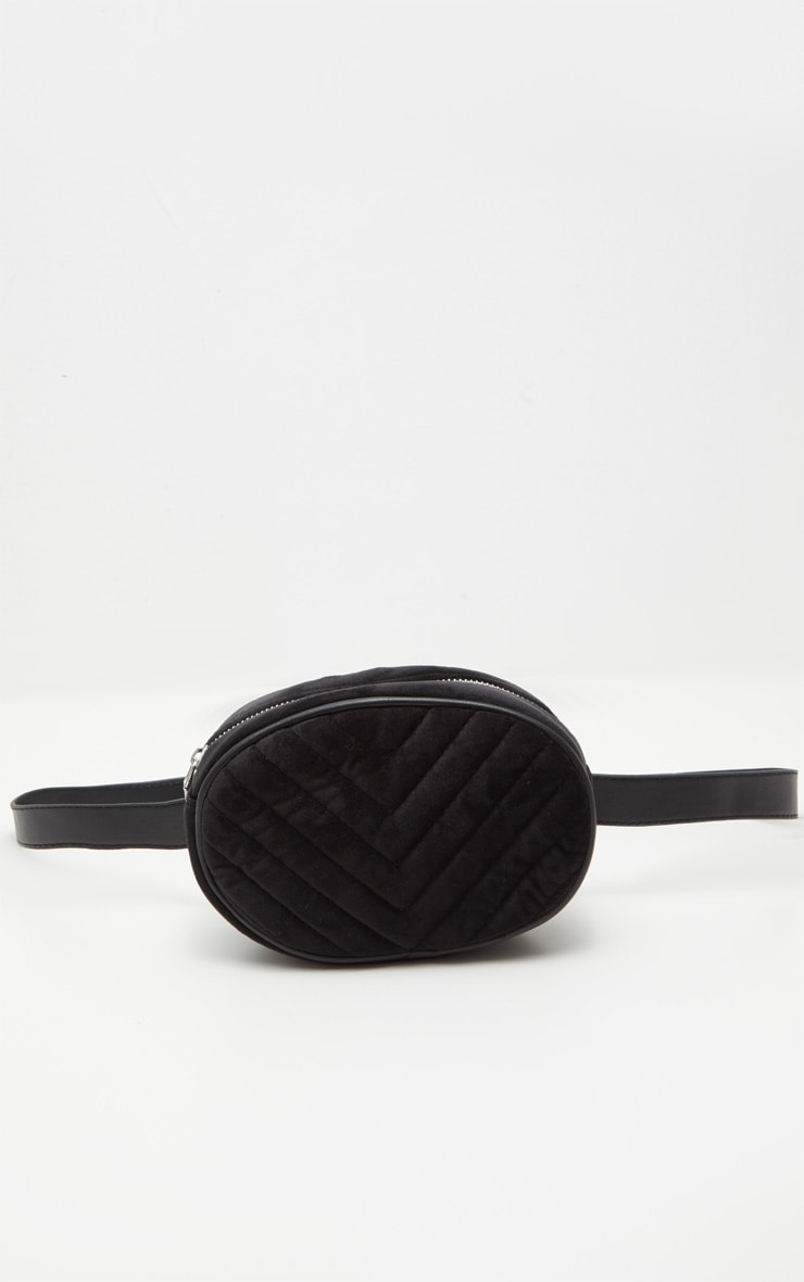 Black Velvet Chevron Quilted Bum Bag 5