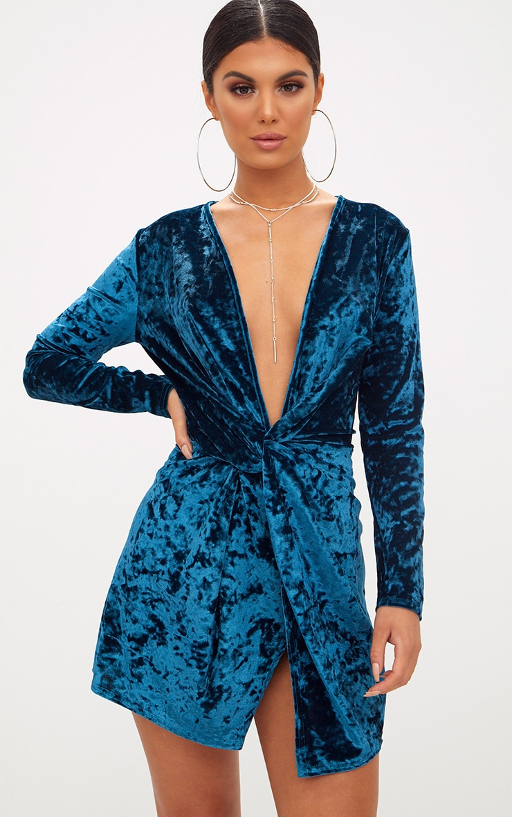 a107e8b58247 Teal Velvet Knot Front Long Sleeve Bodycon Dress | PrettyLittleThing AUS