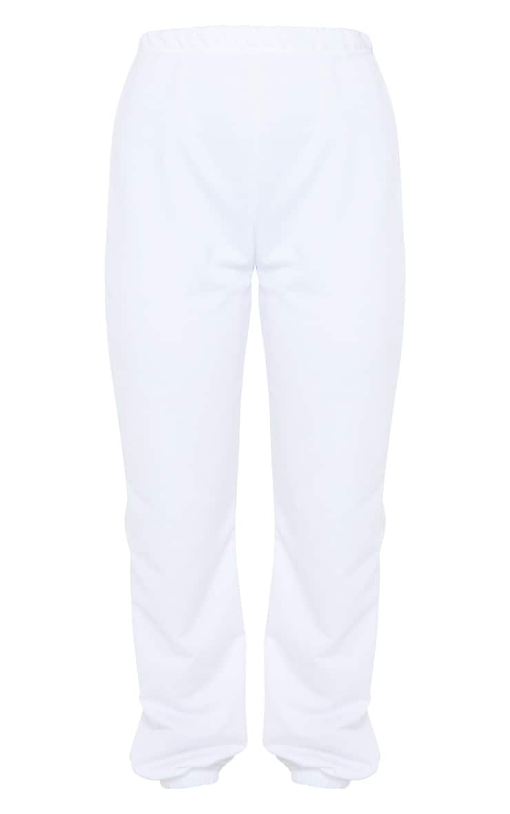 White Basic Cuffed Hem Jogger 5