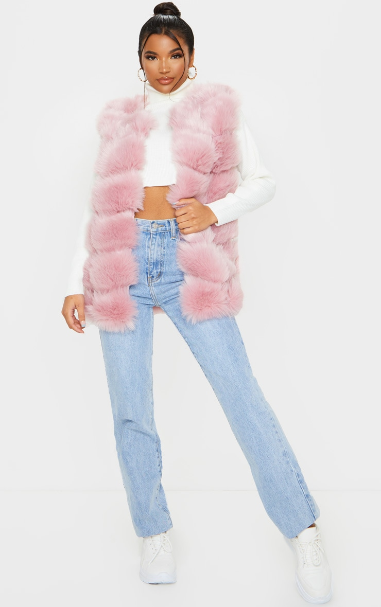 Dusty Pink Faux Fur Longline Gilet 4