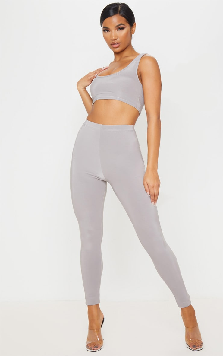 Grey Slinky High Waisted Legging 1