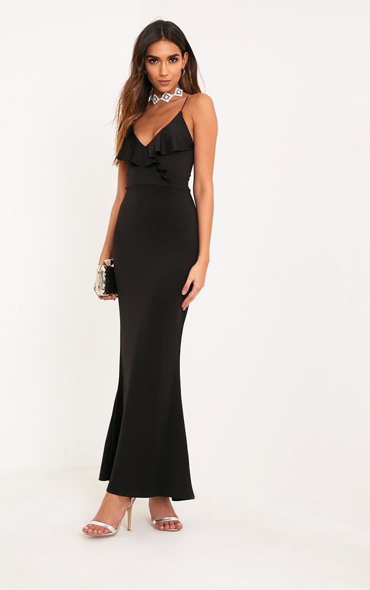 Moisha Black Frill Detail Fishtail Maxi Dress 1