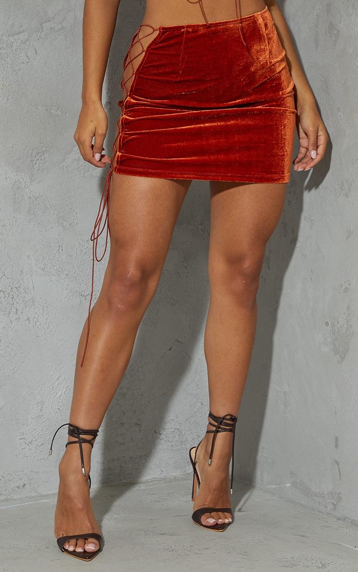 Burnt Orange Velvet Lace Up Side Mini Skirt 2