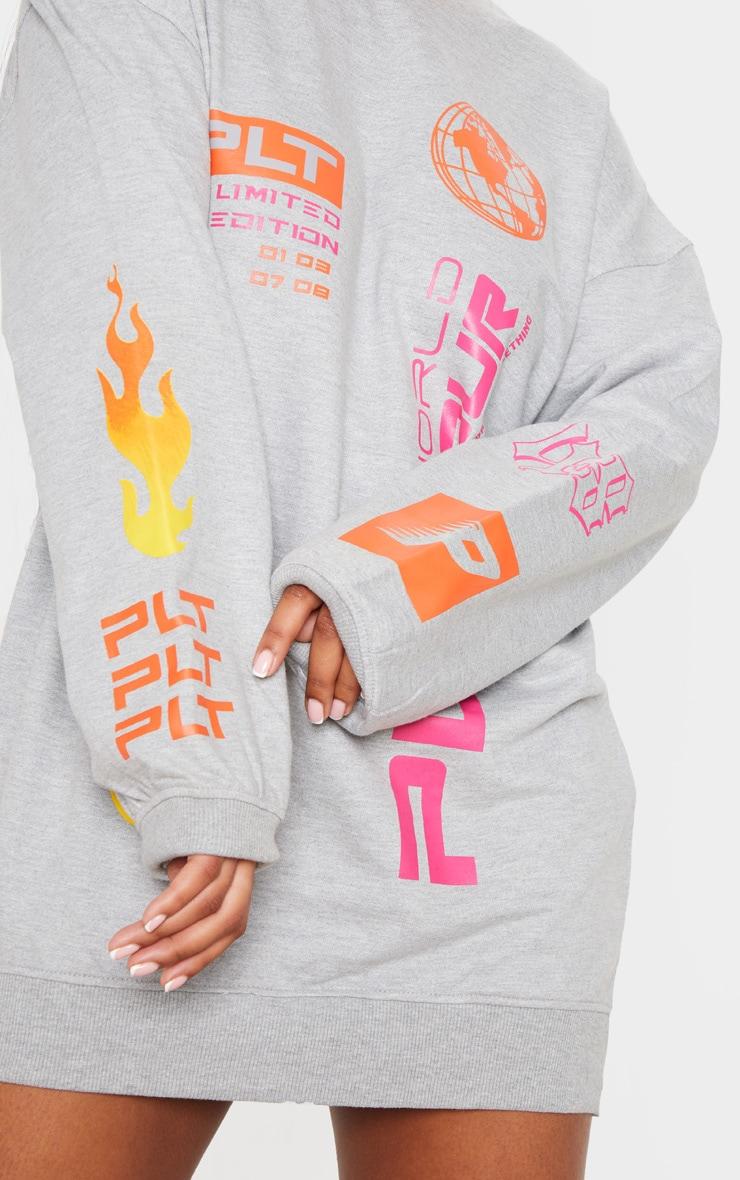 PRETTYLITTLETHING Grey Fire Slogan Jumper Dress 5