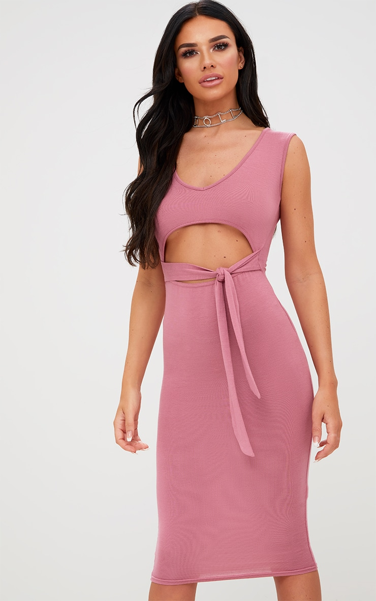 Rose Cut Out Tie Front Midi Dress 1