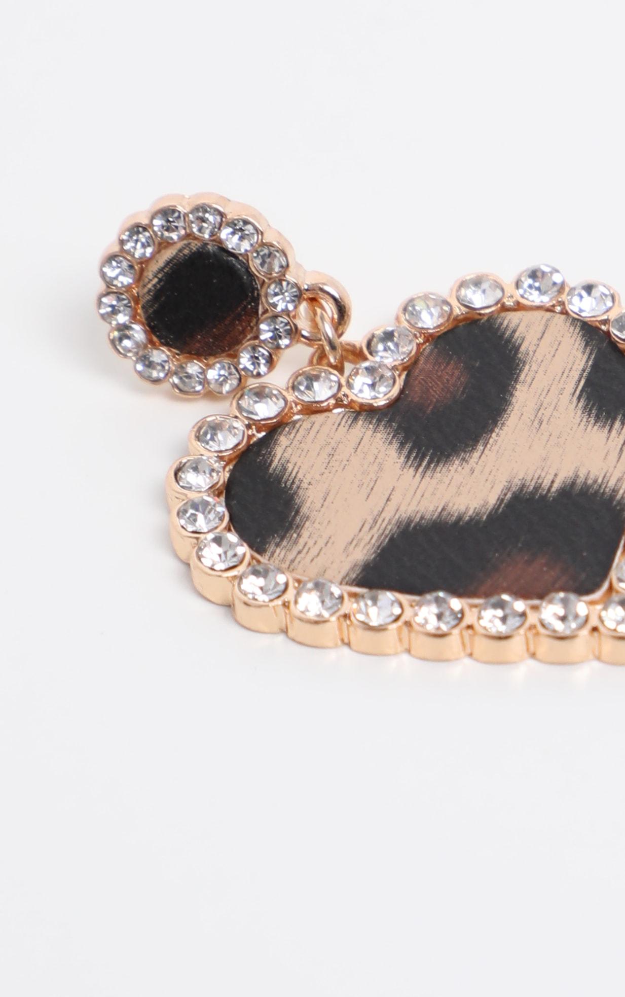 Leopard Diamante Border Heart Drop Earrings 3