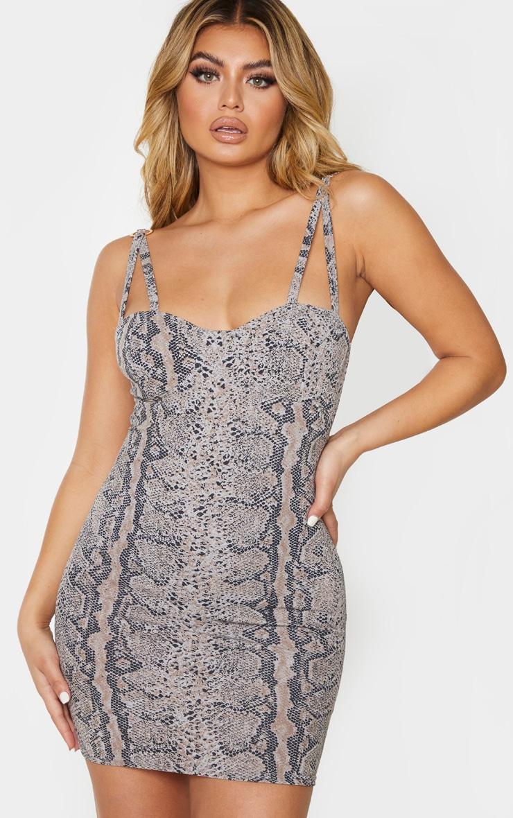 Grey Print Double Strap Ring Detail Bodycon Dress 1