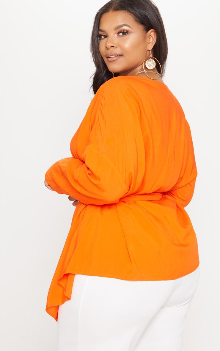 Plus Tangerine Woven Tie Waist Blouse 2