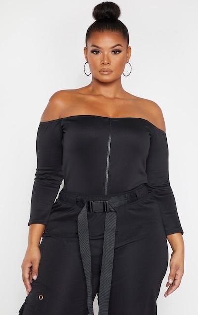 Plus Black Scuba Zip Front Bandeau Bodysuit