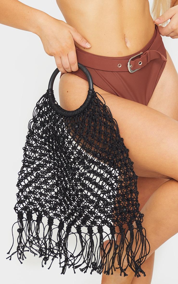 Black Woven Tassel Handbag 1