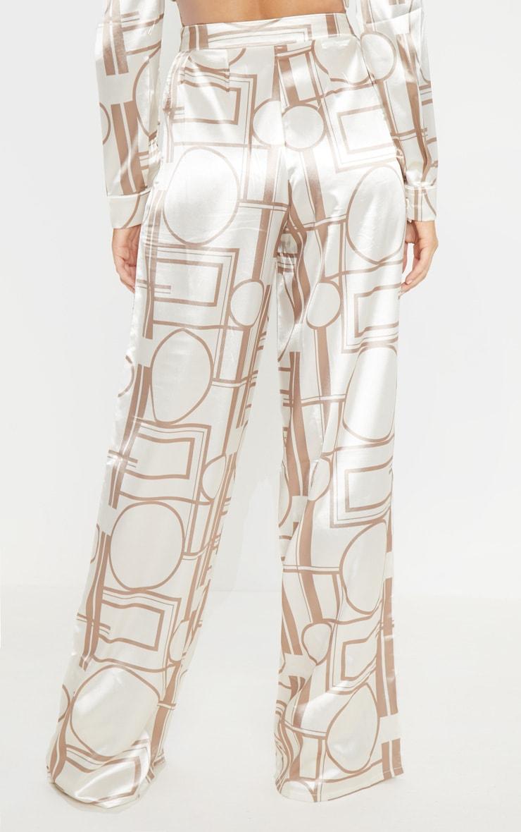 Champagne Satin Print Wide Leg Trouser 4