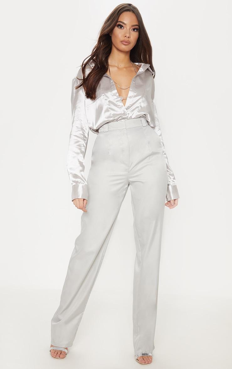 Light Grey Straight Leg Woven Pants 1