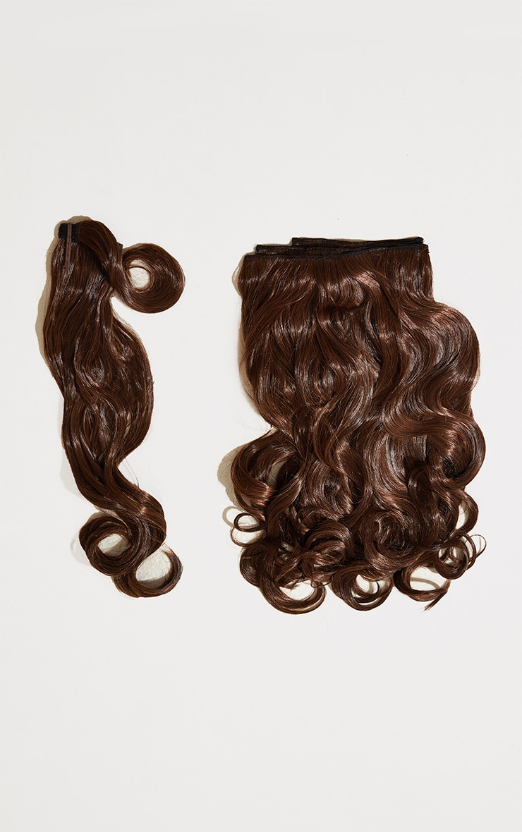 Lullabellz Ultimate Half Up Half Down 22 Curly Extension and Pony Set Warm Brunette 5