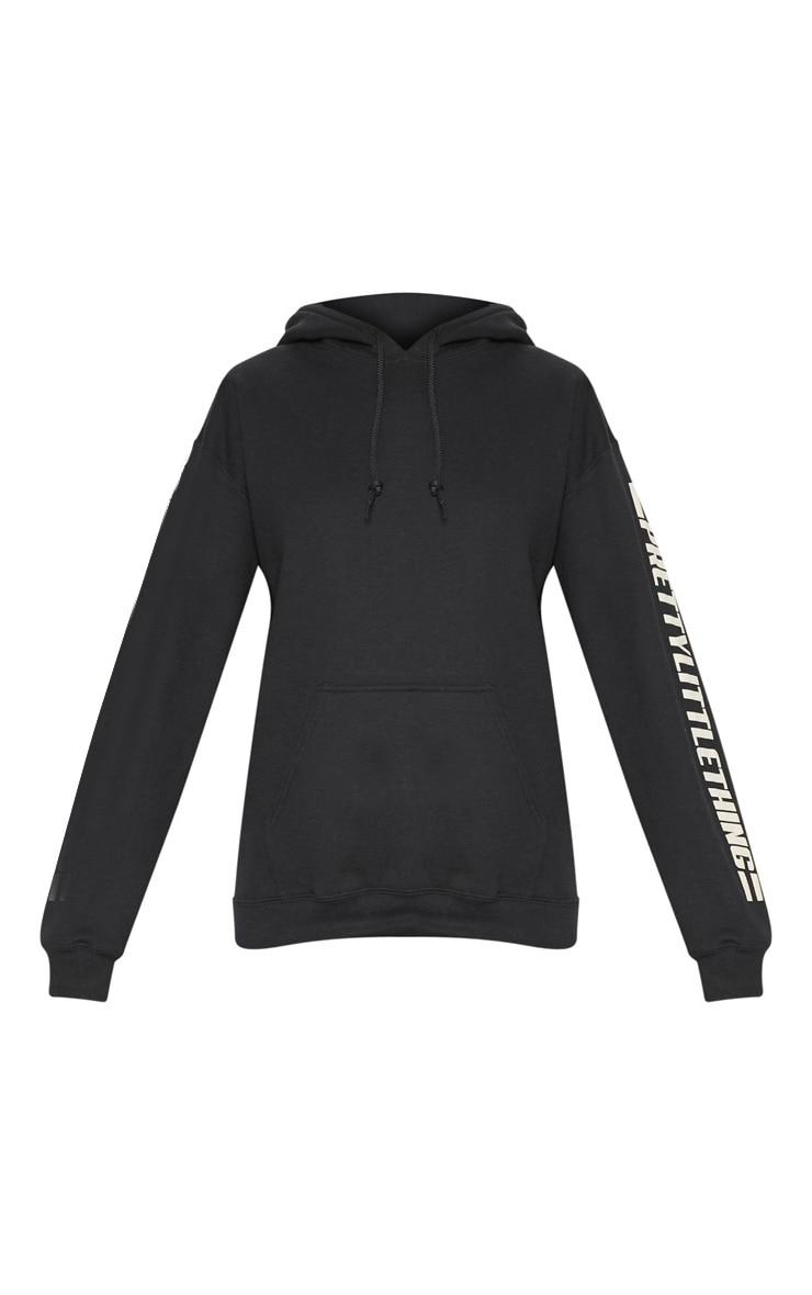 PRETTYLITTLETHING Black Logo Stripe Oversized Hoodie 3