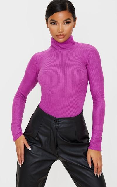 Washed Violet Brushed Rib Long Sleeve Roll Neck Bodysuit