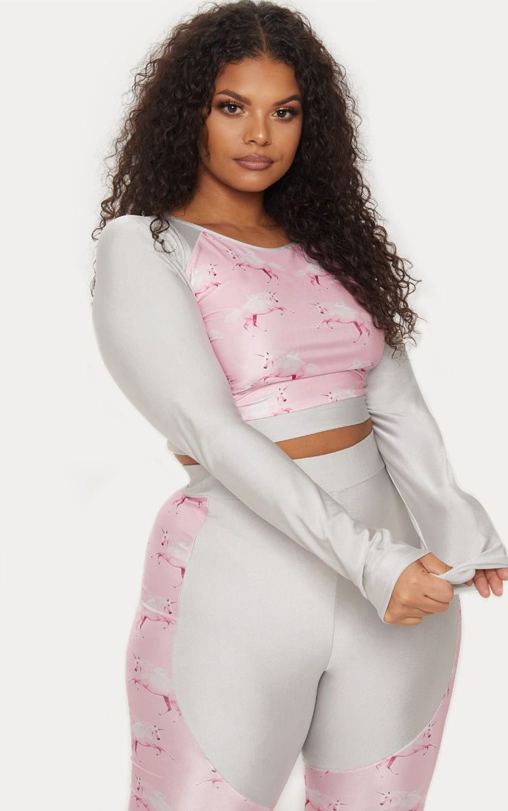 PRETTYLITTLETHING Plus Unicorn Pink Panel Crop Top 1