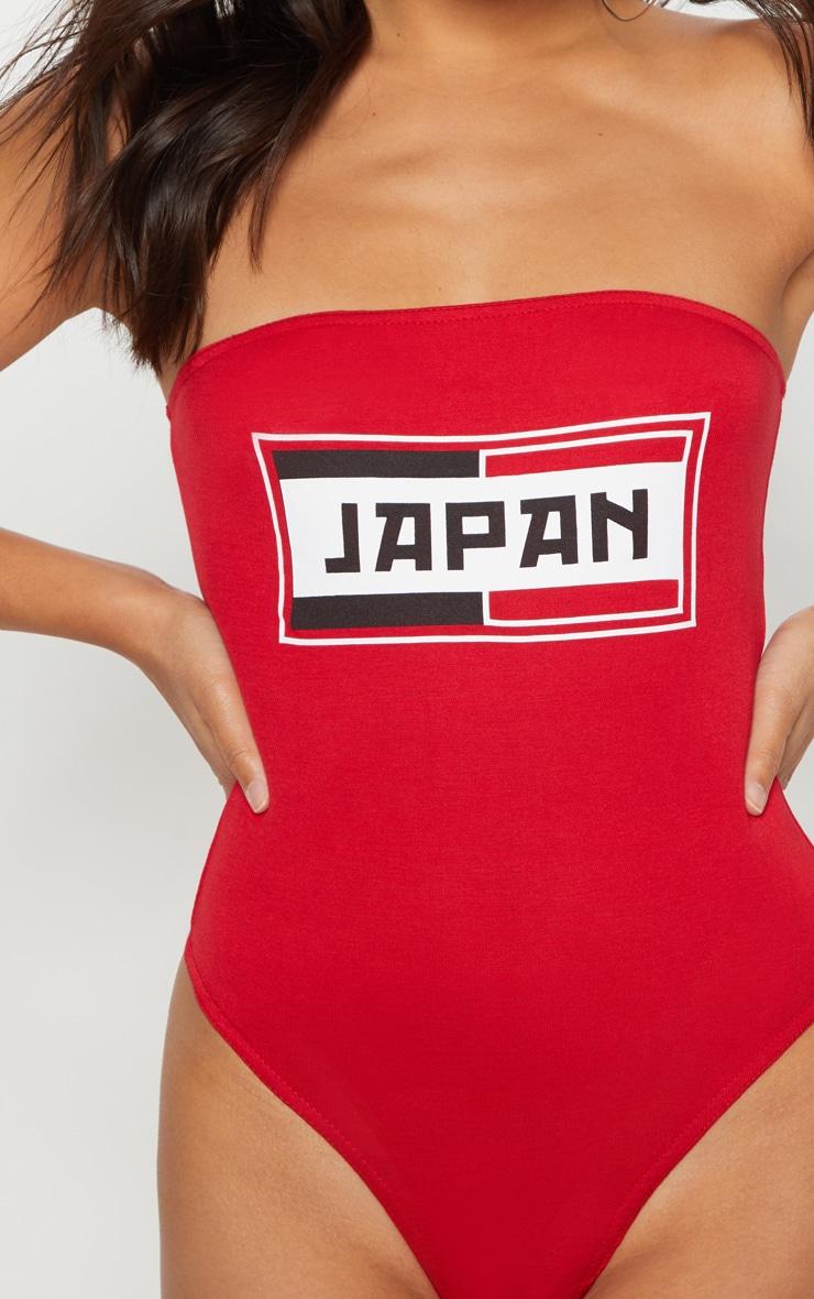 Red Japan Slogan Bandeau Thong Bodysuit  6