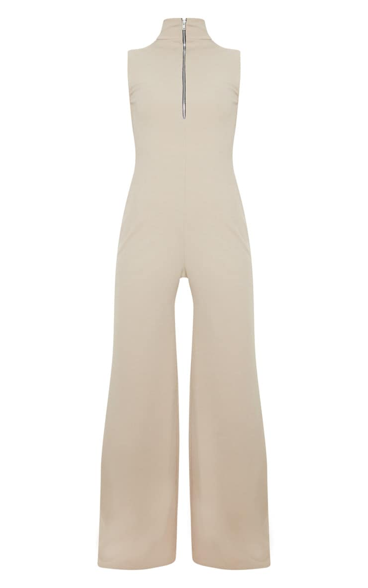Stone High Neck Wide Leg Rib Jumpsuit 3