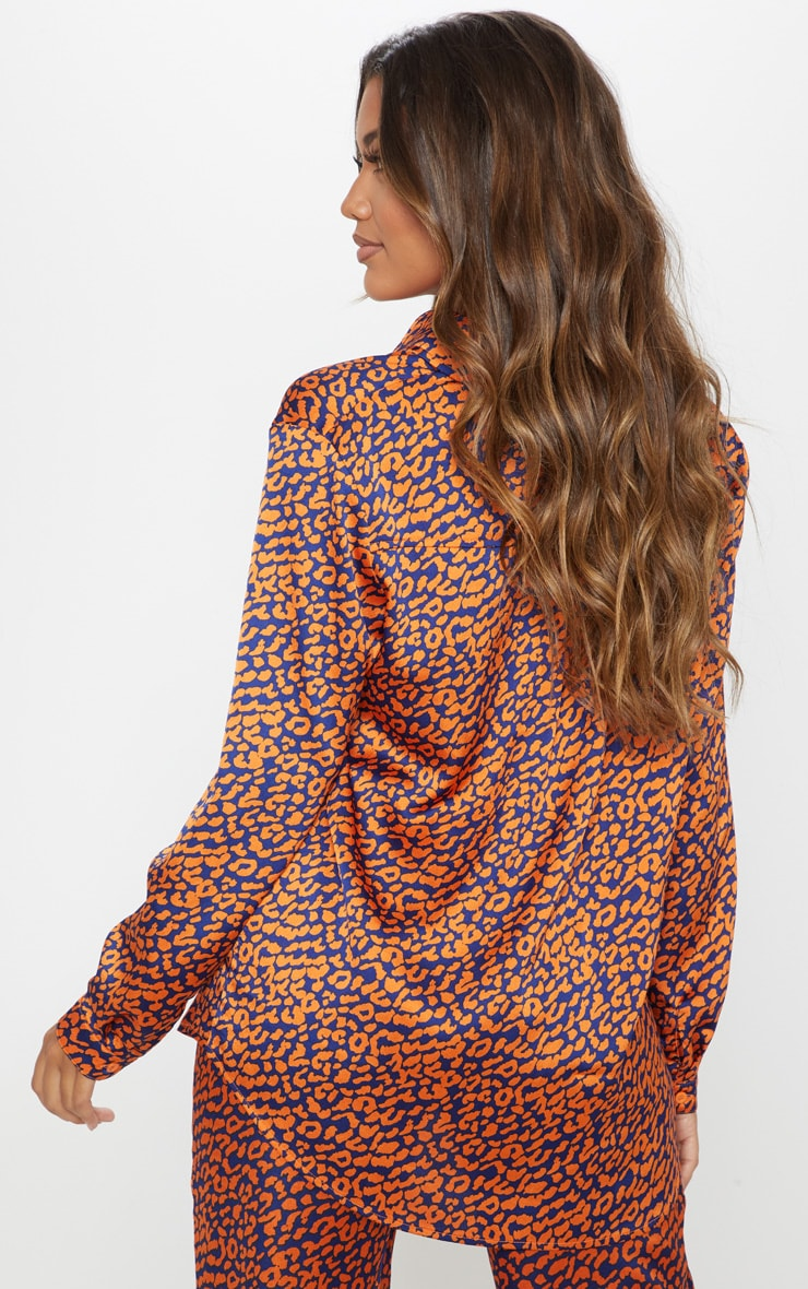 Orange Contrast Leopard Print Oversized Shirt 2
