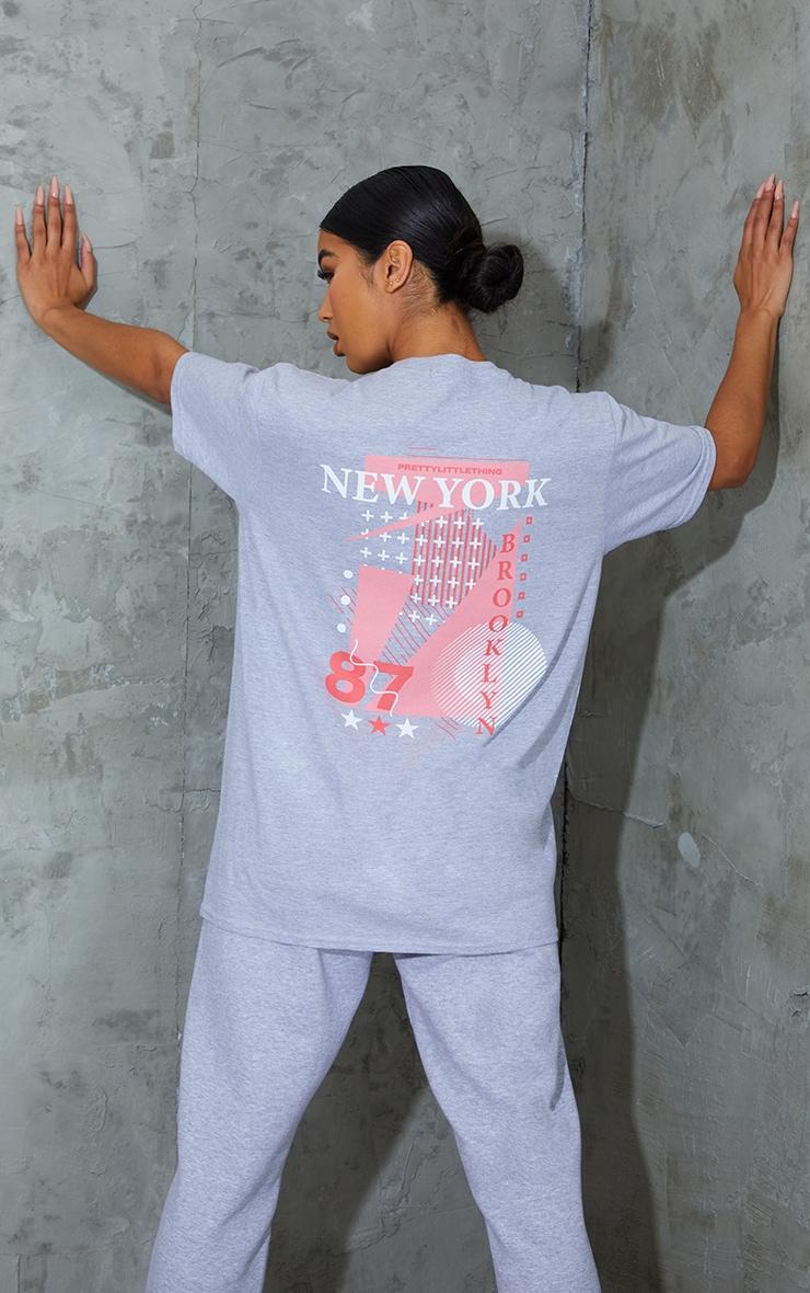 PRETTYLITTLETHING Grey New York Printed T Shirt