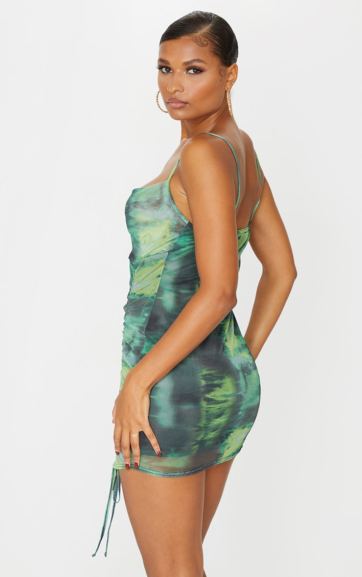 Green Tie Dye Print Strappy Ruched Tie Hem Bodycon Dress 2