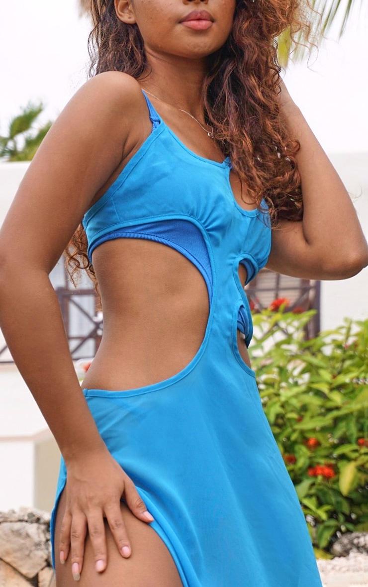 Blue Cut Out Ring Maxi Dress 5