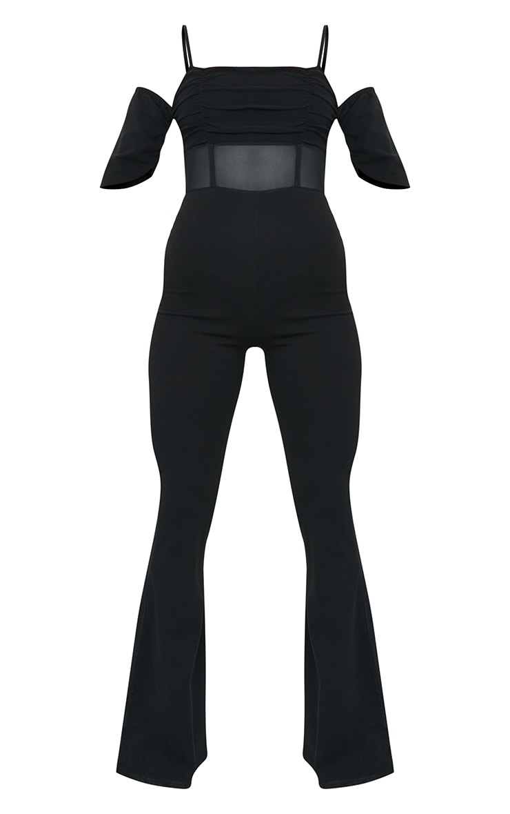 Black Ruched Mesh Binding Detail Off The Shoulder Jumpsuit 5