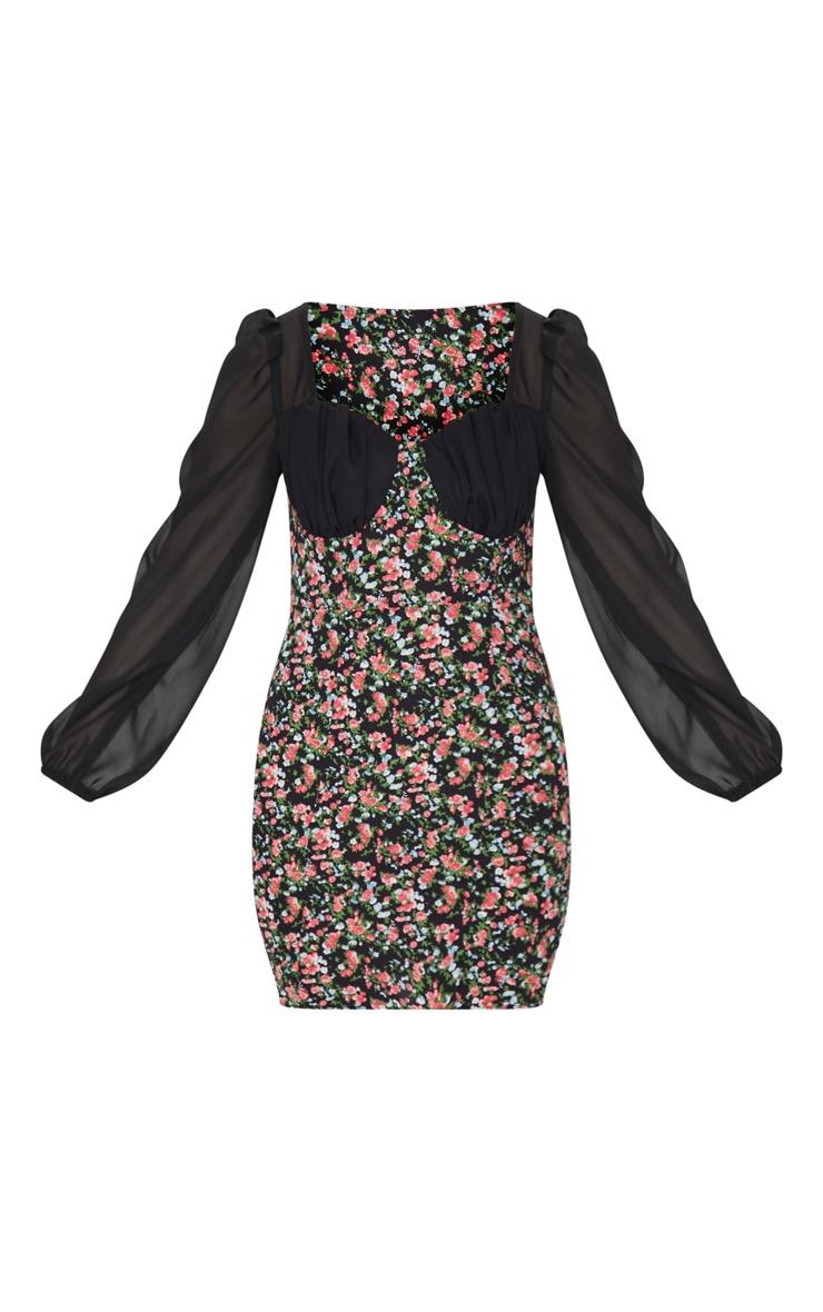 Robe droite noire imprimé petites fleurs à détail bonnets 5