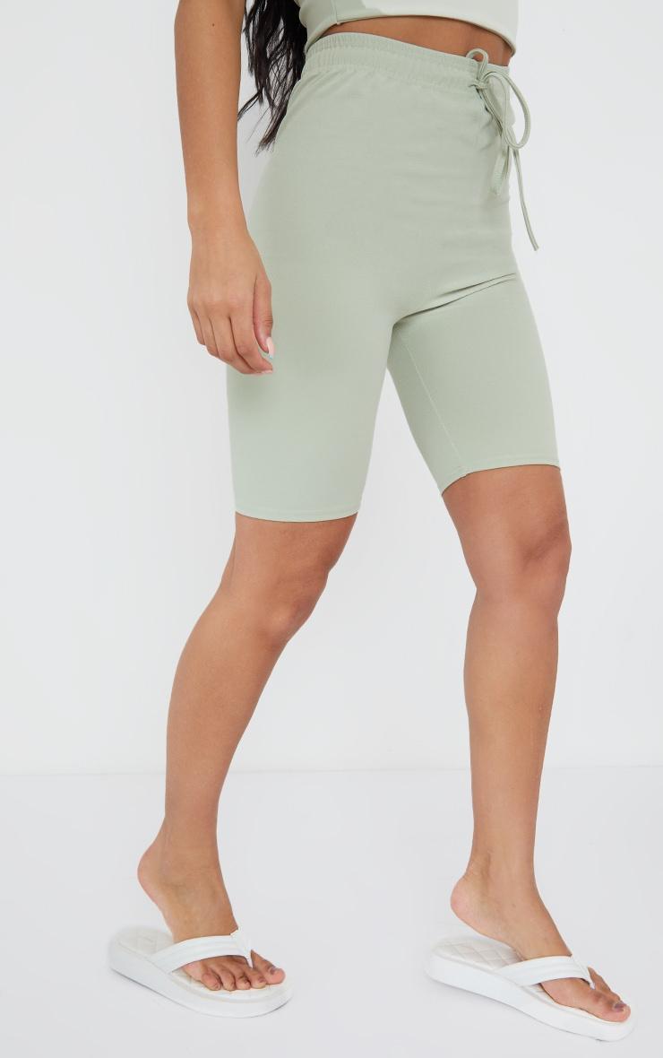 Sage Green Stretch Crepe Tie Waist Bike Shorts 2