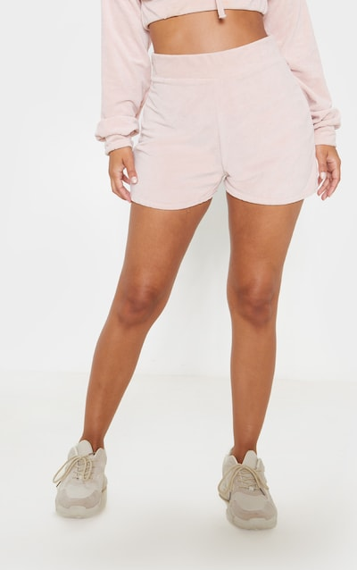 Petite Pink Floaty Velour Shorts