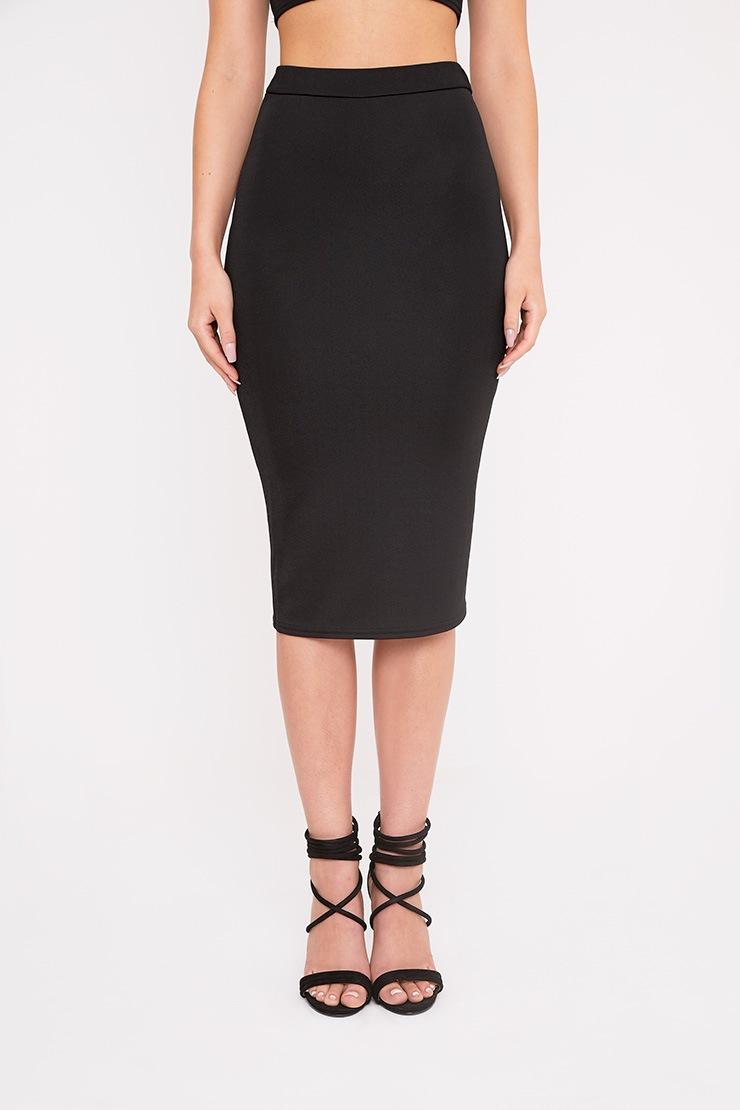 Lacy Black Crepe Midi Skirt 2
