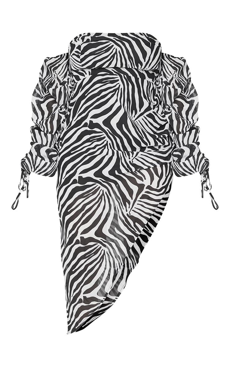 Shape White Zebra Print Bardot Ruched Sleeve Asymmetric Dress 5