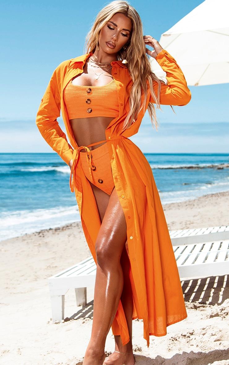 Orange Crinkle Button Down Scoop Bikini Top 3