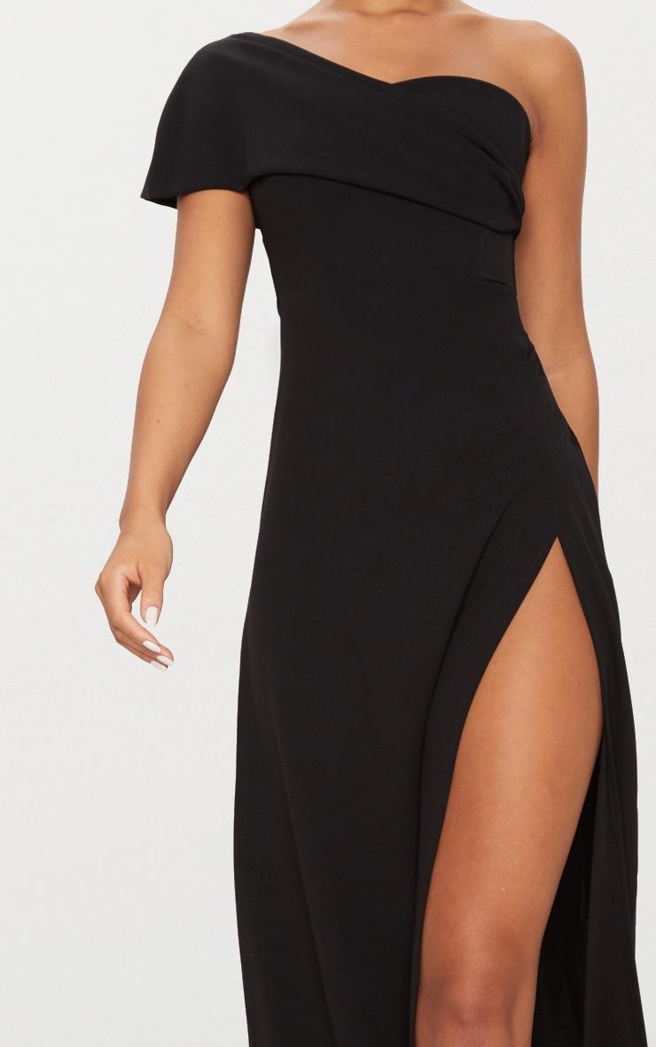 Black One Shoulder Draped Detail Extreme Split Maxi Dress 5