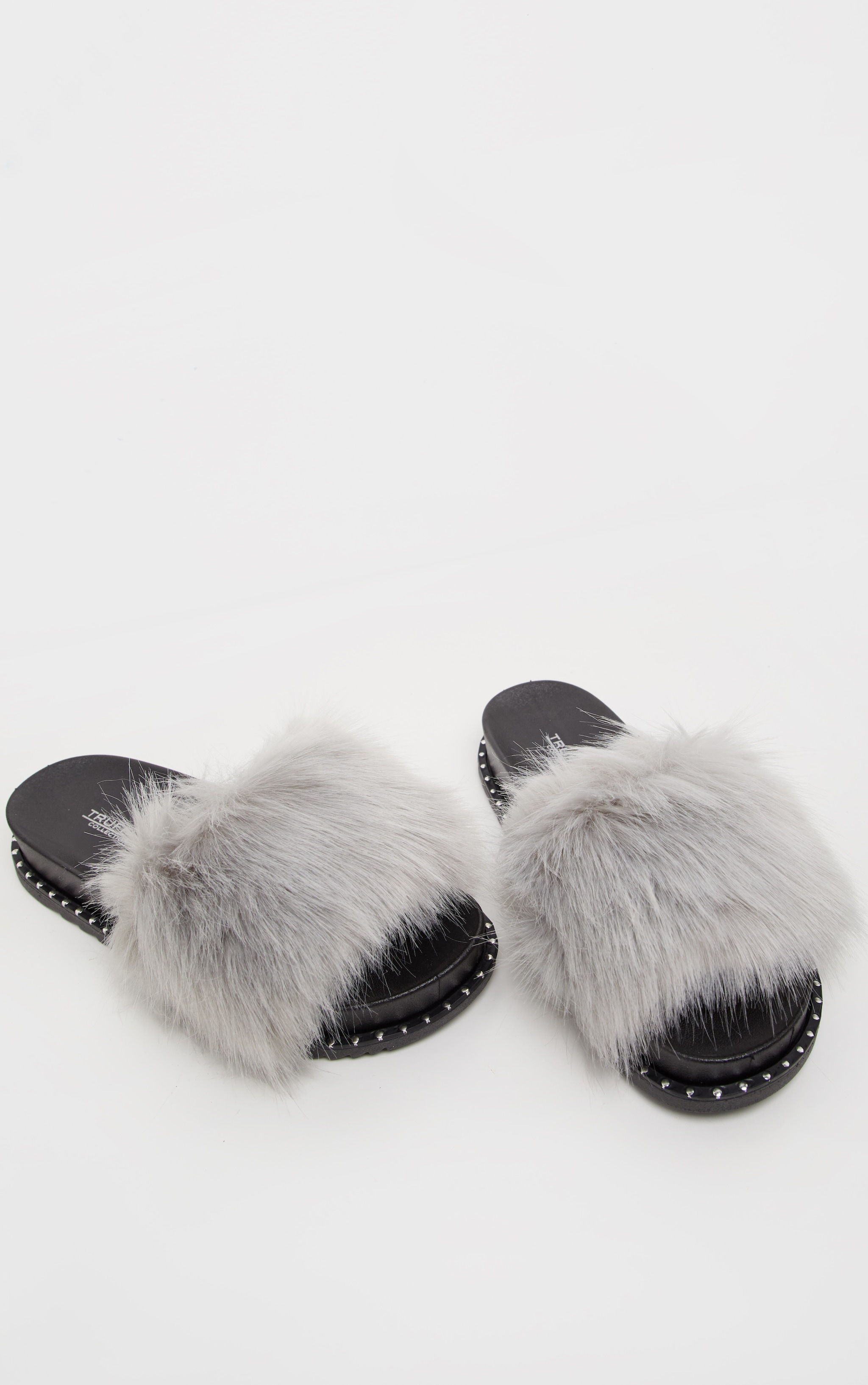 Grey Faux Fur Studded Slider 1