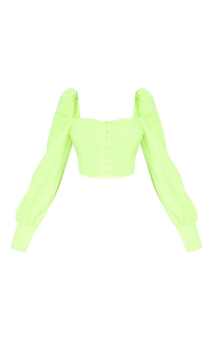 Top vert citron fluo à manches bouffantes & boutons 3