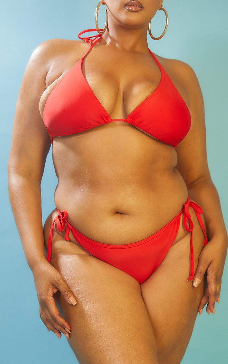 Recycled Plus Red Mix & Match Tie Side Bikini Bottom 1