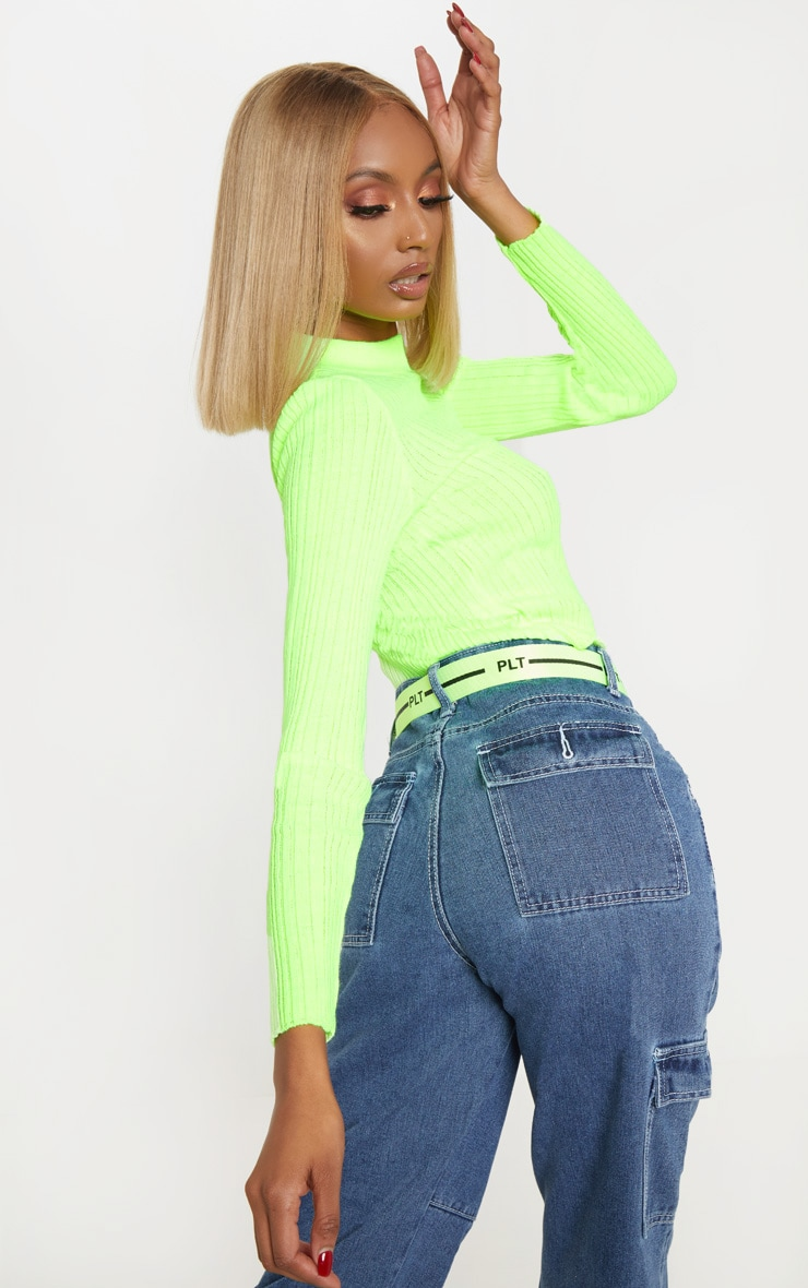Neon Lime High Neck Knitted Rib Top 2
