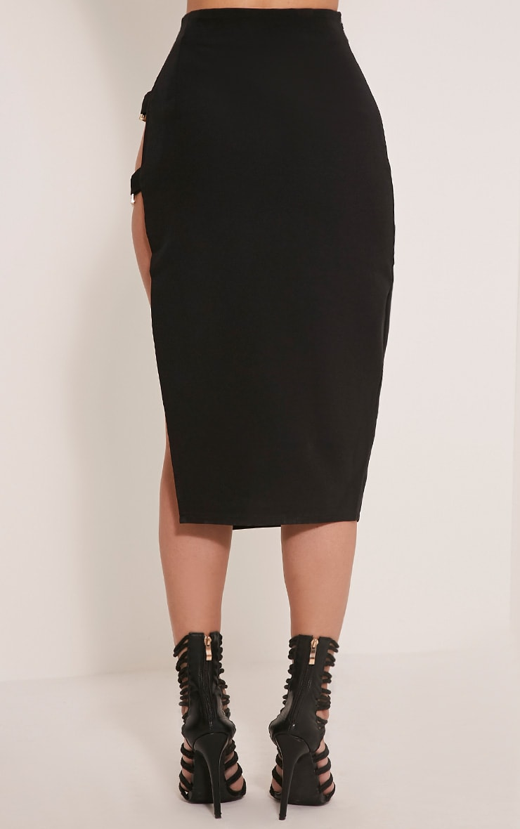 Elyza Black Buckle Side Midi Skirt 5