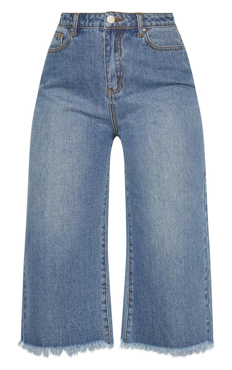Mid Wash Denim Wide Leg Culottes 3