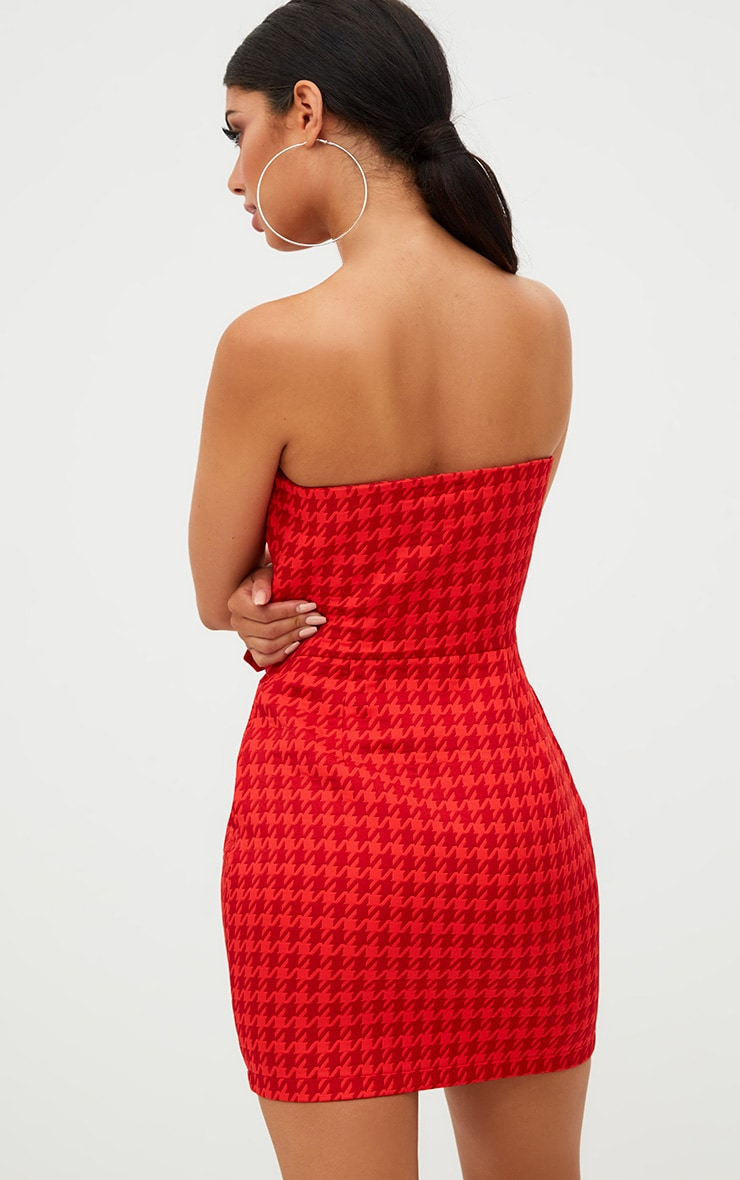 Red Houndstooth Buckle Detail Bandeau Bodycon Dress  2