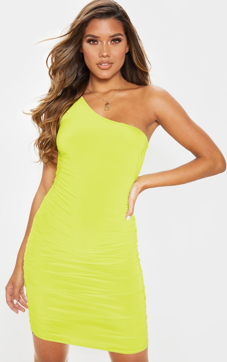 Lime Slinky One Shoulder Ruched Bodycon Dress 4