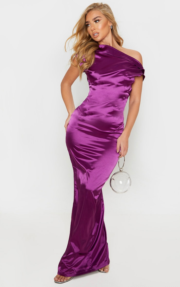 Purple Off Shoulder Pleat Detail Satin Maxi Dress
