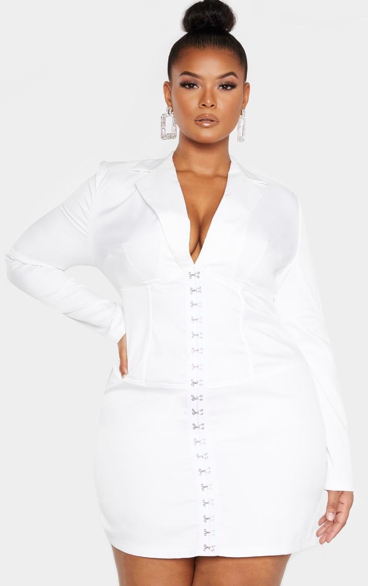 Plus White Eyelet Detail Corset Bodycon Dress 1