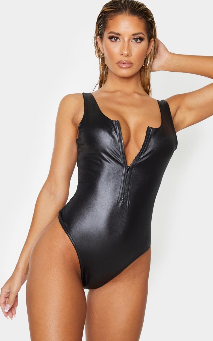 Black Wet Look Zip Up Swimsuit 1