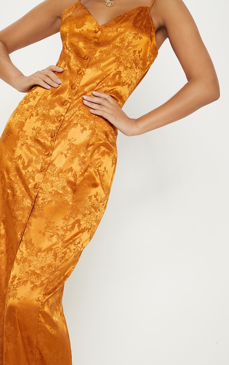 Mustard Jacquard Button Detail Maxi Dress 5